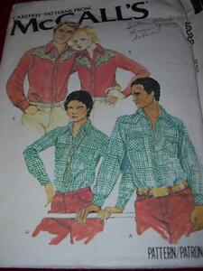1978 McCALL/'S #6383 MEN/'S LONG SLEEVE WESTERN SHIRT PATTERN  36 or 40 or 44 uc