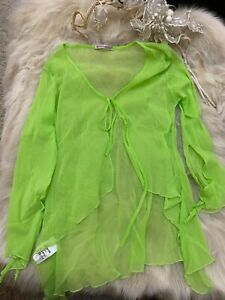Mondadori-green-mesh-long-sleeves-Camisole-Top-sleepwear-nightwear-size-L
