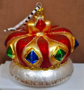 Crown Christmas Ornaments.Details About Mary Engelbreit Queen Of Everything Jeweled Crown Christmas Ornament Red Gold