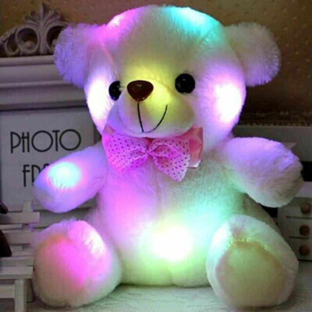 Creative Light Up LED Inductive Teddy Bear Stuffed Animals Plush Toy Colorful Glowing Teddy Bear Inch White 20