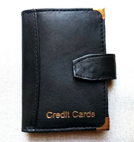 NEW LUXURY SOFT REAL LEATHER BLACK CREDIT CARD HOLDER