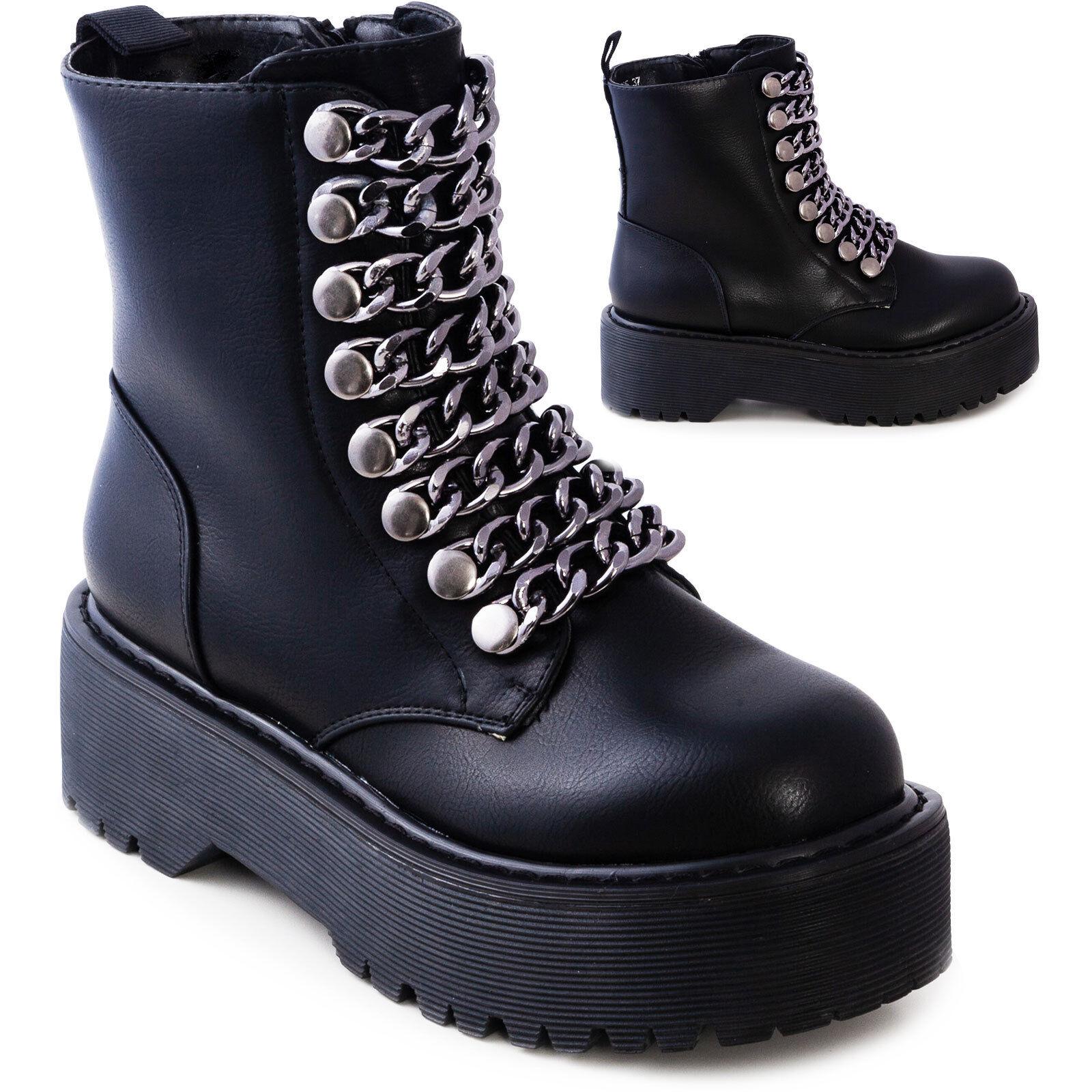 Femmes chaussures bottes rangers biker chaîne semelle reinforcée platform G525