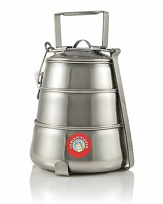 3 Tier Pyramid Tiffin - Authentic Indian Lunch Box Stainless Steel - FREE P&P
