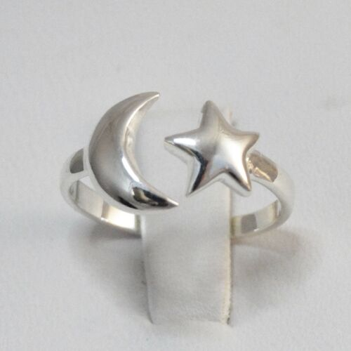 Crescent Moon and Star Ring 925 Sterling Silver Sizes 5-10 Sky Celestial NEW
