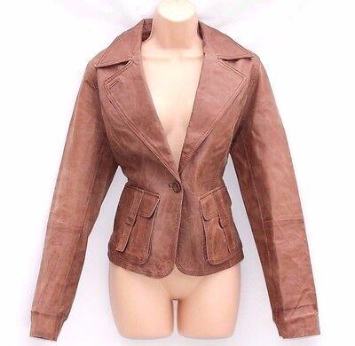 Fiducioso Women's Vintage Casual Wear Fitted Brown 100% Leather Jacket Coat Blazer Uk14