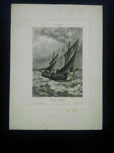 Rare gravure XIXème Bateau louvoyant A. Morton Hautecœur rue de Rivoli Paris