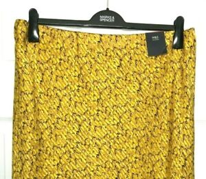 Ladies-Slip-Skirt-M-amp-S-Mustard-Animal-Print-Satin-Midi-Aline-18-BNWT-Marks-Women