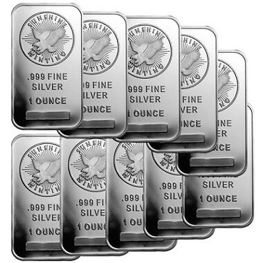 Lot of 10 1oz Sunshine Silver Bar