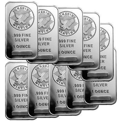 1 oz Sunshine Silver Bar (New, MintMark SI, Lot of 10)