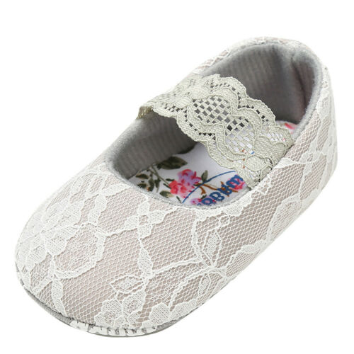Baby Girls Lace Princess Shoes Soft Sole Kids Pram Shoes Toddler Anti-Slip 0-18M
