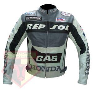 HONDA-GAS-REPSOL-GREY-MOTORBIKE-MOTORCYCLE-COWHIDE-LEATHER-ARMOURED-JACKET