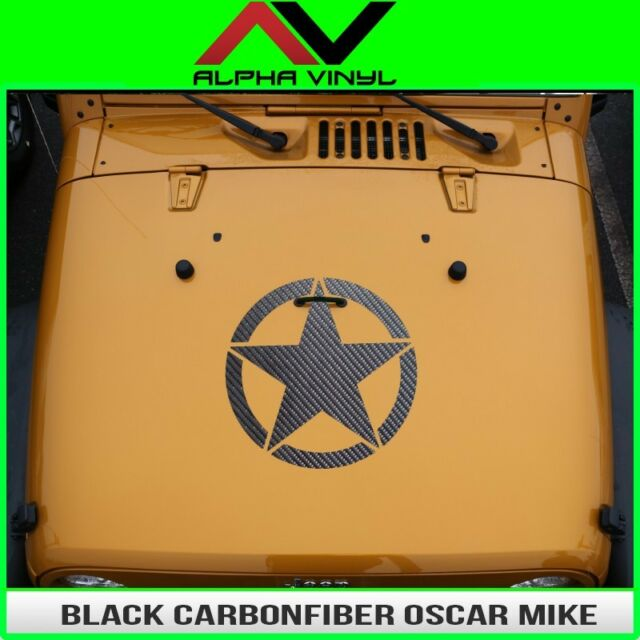Hood Decal Black CarbonFiber OSCAR MIKE STAR  Jeep Wrangler JK, TJ, YJ Universal