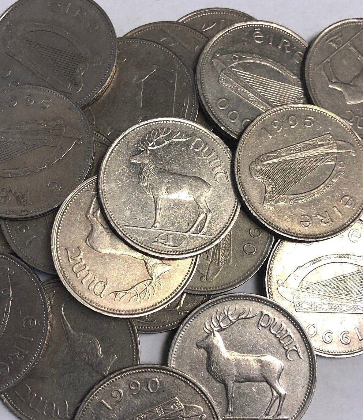 """Ireland /""""EIRE/"""" Stag coins 1990-2000 type Irish Pound £1 Punt Red Deer"""