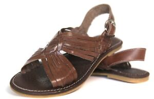 763c7759ff07e MEXICAN SANDALS Women s OPEN Toe DARK BROWN with Buckle Flats ...