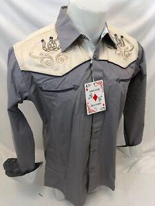 Men RODEO WESTERN COUNTRY GREEN HORSESHOE Long Sleeve Woven SNAP UP Shirt Cowboy