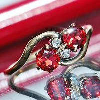 1870 Antique size 6.5 Bohimean 14k yellow gold 0.88ct garnet & diamond ring 2.2g