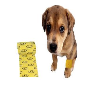 2-rolls-Cohesive-Stretch-Bandage-Pet-Wound-Care-Gauze-Yellow-Smile-5cm-4-5m