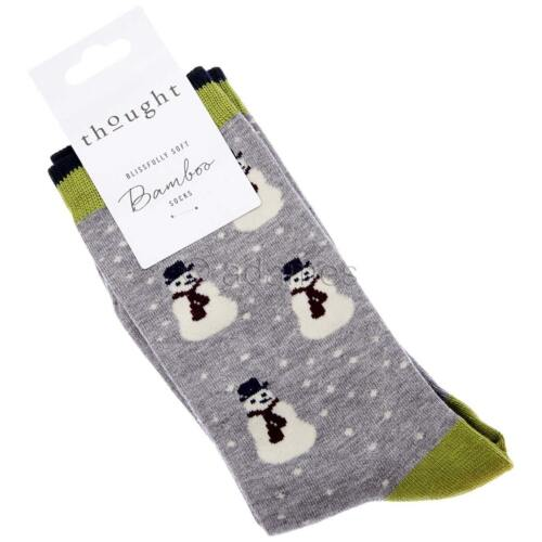Multipack Option Snowman Men/'s Bamboo Socks by Thought Super-Soft 4 Colours