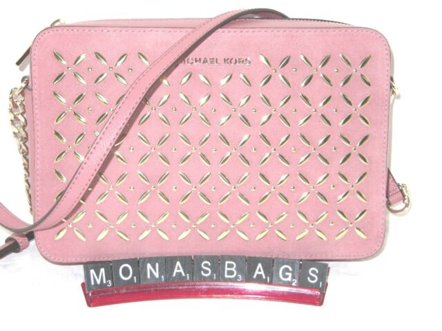 1ce2c9da0689 Michael Kors Large Rose Pink Embellished Leather Crossbody Studded Bag NWT  $198