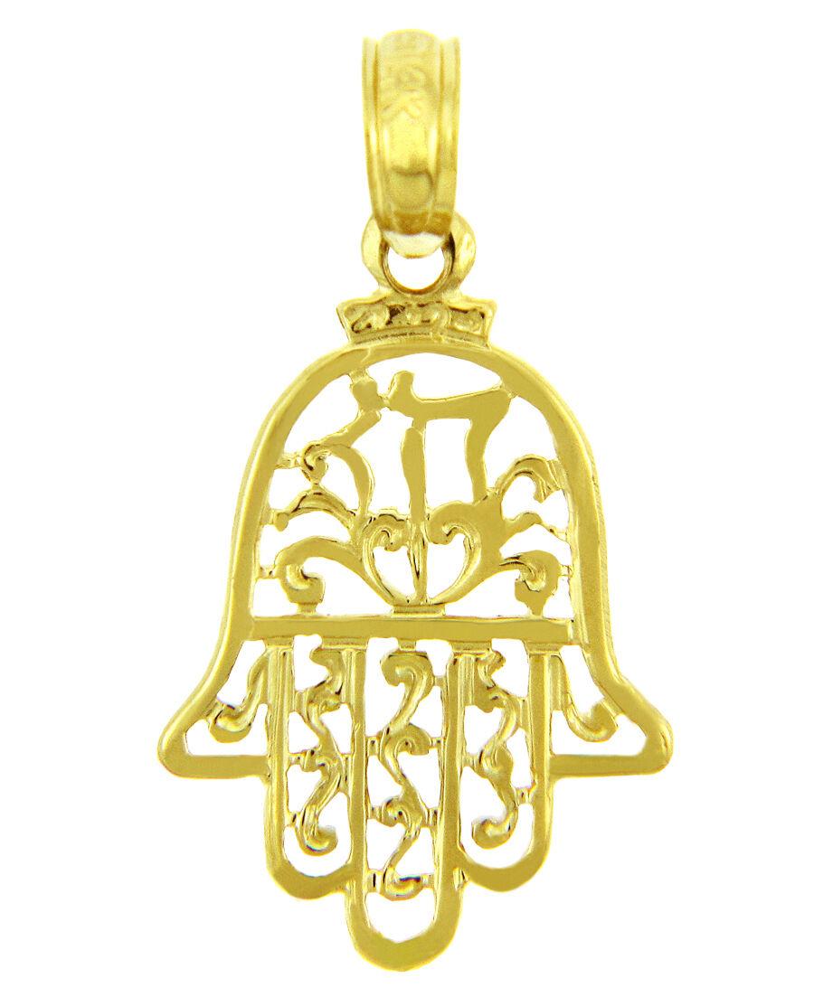 14k Yellow gold Jewish Hand of Miriam Filigree Hamsa Charm Pendant, Made in USA