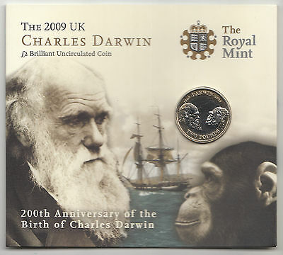 RARE 2009 £2 POUND COIN Charles Darwin 200th Anniversary - BU Presentation Card