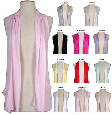 Solid Colors Plain Summer Shawl Collar Sleeveless Open Cardigan Knit Top Blouse
