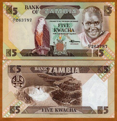 P-25 7 UNC 25d 1980-1988 Zambia Sign 5 Kwacha ND