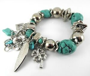 CHUNKY-SILVER-BRACELET-WITH-TURQUOISE-SEMI-PRECIOUS-STONE-BEADS-AND-CHARMS
