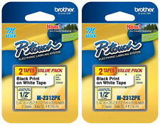 Double Pack Brother P-Touch Tape 1//2 inch Black Print on White Tape MK-2312PK