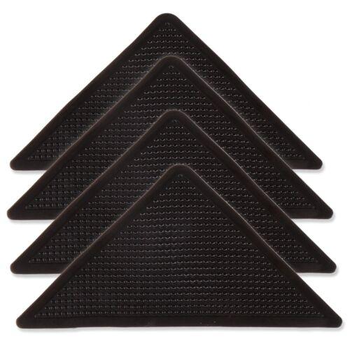 4x ADHESIVE RUG GRIPPERS Stick On Grip Pads Carpet Mat Corner Holders Anti-Slip