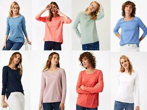 White-Stuff-Escote-Redondo-Coral-Blanco-Verde-Azul-Blusa-Camiseta-Top-8-12-14-16-18