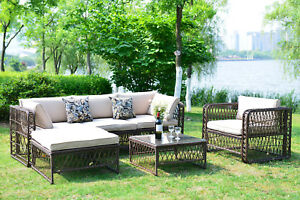 Outdoor-Patio-Furniture-Wicker-Rattan-Sofa-Sectional-Cushioned-Seat-Luxury-Large
