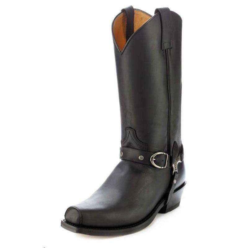 Sendra 3091 hombre botas de vaquero occidental de Cuero Negro Biker hecho a mano