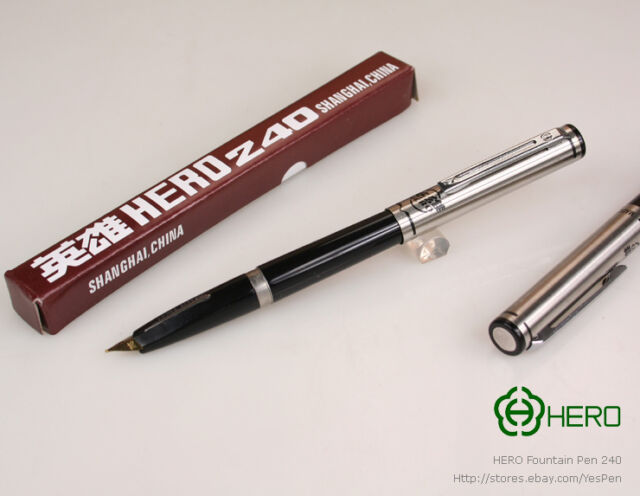 dfb2c7a11f0 Early HERO Pens Vintage Fountain Pen 240 Arrow Inlaid Grip Coveted ...