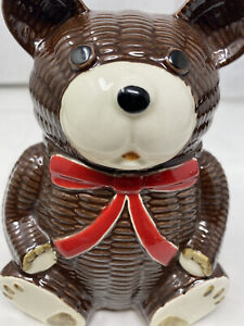 VINTAGE TEDDY BEAR  CERAMIC BANK OLD COIN BANK OLD MADE IN JAPAN