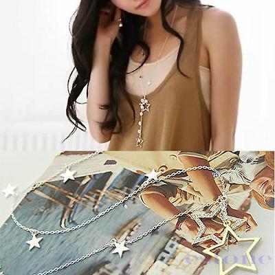 Womens Fashion Silver Gold Crystal Rhinestone Stars Pendant Necklace Long Chain