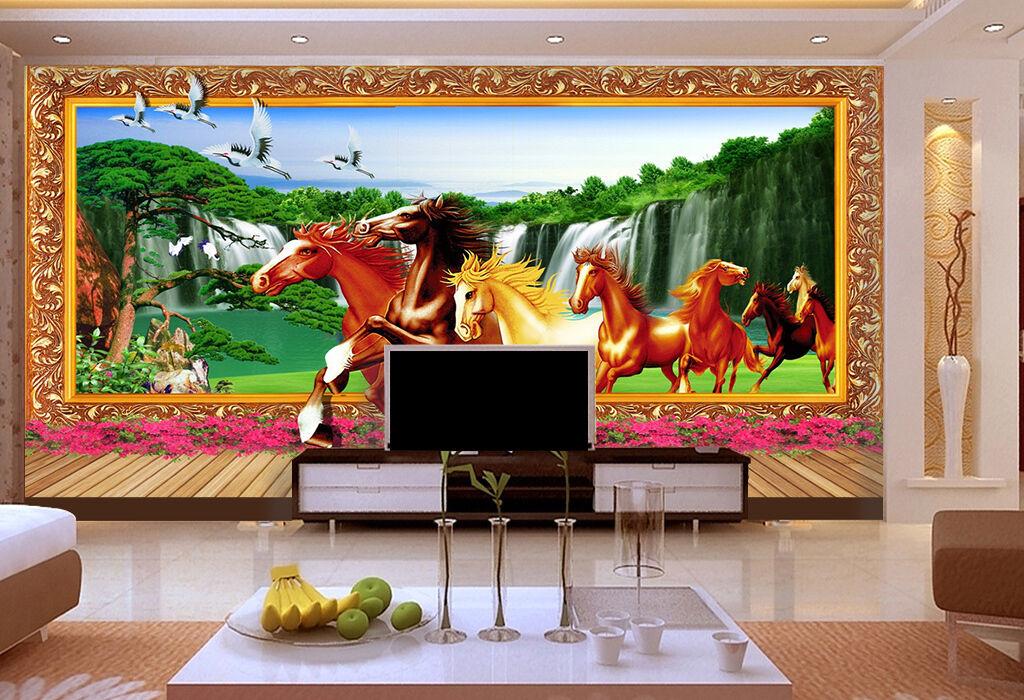 3D waterfall run horses Wall Paper Print Decal Wall Deco Indoor wall Mural