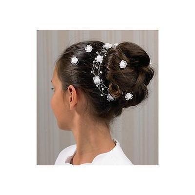 Haarstrang Haardraht creme ivory Haarschmuck Hochzeit Kommunion Firma Weise