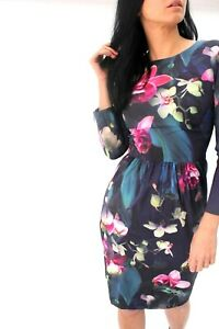 Ted-Baker-Ilisa-Fuchsia-Floral-Print-Dress-Mini-Shift-Cocktail-Party-6-to-14-New