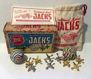 METAL-034-JACKS-034-SET-A-CLASSIC-GAME-OF-SKILL