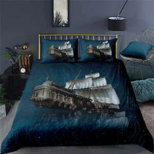 Ghost-Ship-In-Great-Blue-Sea-3D-Quilt-Duvet-Doona-Cover-Set-Pillow-case-Print