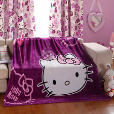 """Hello kitty Blankets Cover Flannel purple Bedding Throws 59""""-79"""" Home Sheet"""