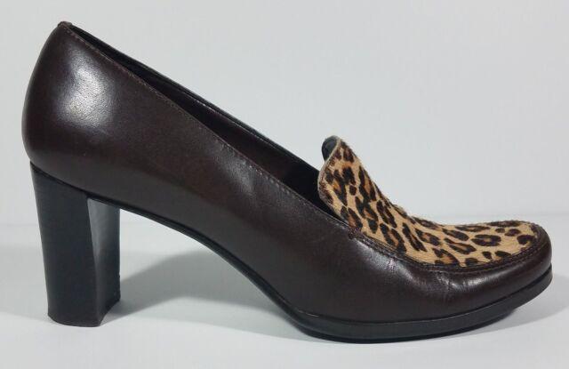 638553dfb0 Franco Sarto brown leather animal print block heel loafers shoes ladies 7.5