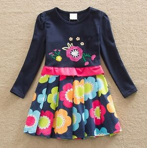 Filles-a-Manches-Longues-Robe-de-Soiree-Age-3-4-5-6-7-8-ans-NEUF-Rose-Pretty-Kids-clothes