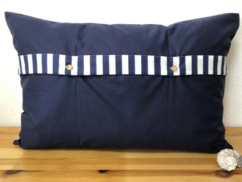 Maritime Kissenhülle *Kissenbezug*Landhausstil* Ahoi blau//weiß//beige 40x60cm.