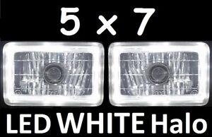 1pair 5x7 6x8 200x142 Semi Sealed H4 Lights Headlights LED Halo Angel Eye White