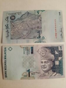 malaysia Rm1 zeti last prefix ZV 0X 1 zero 1 pcs running number unc Series 11th