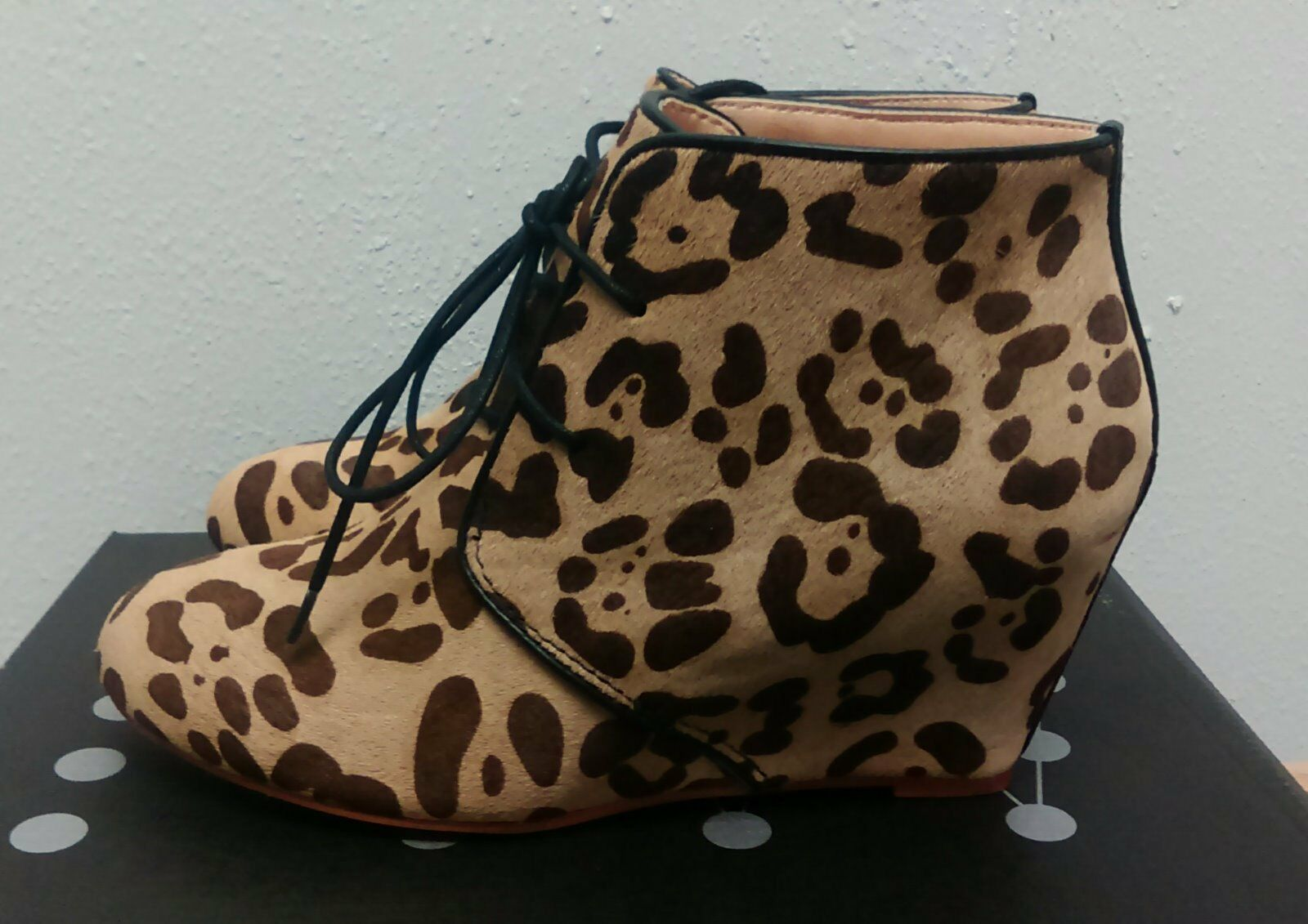 Marais USA Leopard Haircalf Wedge démarrageie Taille 6.5