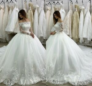 Wedding-Dresses-Bridal-Ball-Gowns-Off-Shoulder-Appliques-Lace-Long-Sleeves-Plus