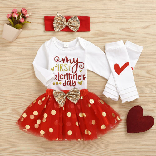 NEW 1st Valentines Day Baby Girls Tutu Skirt Leg Warmer Headband Outfit Set